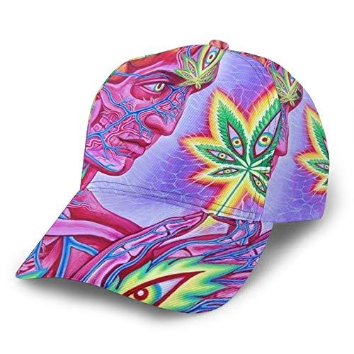 Men's Fashion Sport Cap Hat Fit Golf Fishing - Trippy Marijuana Leaf Weed Pot Leaf Pattern