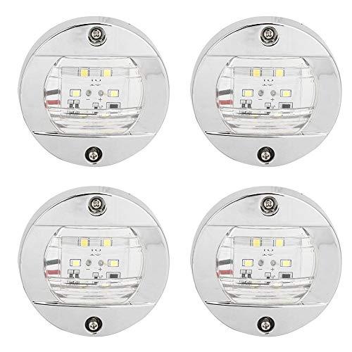 Luz de navegación para barcos, 4 piezas Lente transparente LED Navegación redonda Luz blanca de popa 12V Cromo Impermeable para camiones y yates