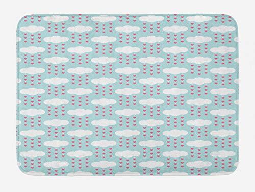 ABAKUHAUS Corazones Tapete para Baño, Nubes con Colgantes de Corazones, Decorativo de Felpa Estampada con Dorso Antideslizante, 45 cm x 75 cm, Azul pálido Rosa y Blanco