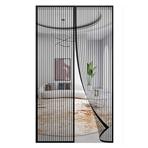 Magnet Fliegengitter Tür,Insektenschutz Magnetischer Fliegenvorhang,für Balkontür Wohnzimmer Terrassentür Verschiedene Größen, Klebmontage ohne Bohren(Schwarz/Weiß)