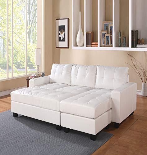 ACME FURNITURE Lyssa Sectional Sofa w/Ottoman - 51210 - White Bonded Leather Match