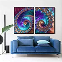 キャンバス画像2ピエザ40x60cmフレームなしクリエイティブ抽象アートフラクタルパターンリビングルームの家の装飾のためのアート画像ポスターのPiantingプリント