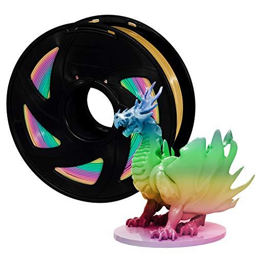 Filament PLA 1,75 mm 3D Drucker Filament Rainbow Multicolor, XVICO Regenbogen Filament PLA 1 KG Spool