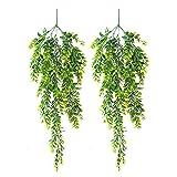 Plantas decorativas al aire libre 2 unids plantas verdes artificiales que cuelgan de hojas de hiedra flores falsas vid al aire libre jardín decoración del hogar jardín pared fiesta decoración Jardín,