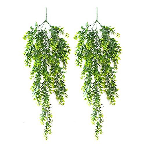 Buiten decoratieve planten 2 stks Kunstmatige groene planten opknoping klimop bladeren nep bloemen wijnstok outdoor tuin…