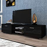 70 black media console - AUXSOUL Entertainment Center for Up to 70 Inch TV Screen - Modern Black TV Cabinet - Media Game Console Table - TV Stand for Media Player, TV Table Media Furniture