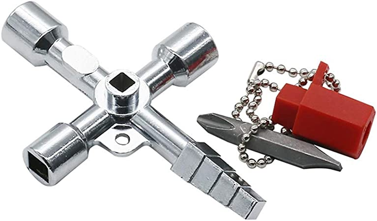 4 Way Utilitaire Multi Cross Key Zonfer 1pc 4 Way Utility Universal Plombiers Key Carr/é Triangle Croix Outil Cl/é pour /Électrique Ascenseur Armoires Box Cabinet