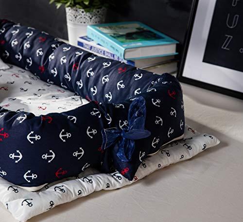 TEALP Kuschelnest Babynest Multifunktionales Nest für Babys Säuglinge Reisebett, 100% Baumwolle, Marineblau-Anker des Seethemas (0-24 Monate) - 4