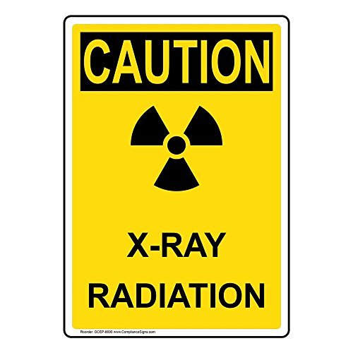 Vertical Caution X-Ray Radiation OSHA Safety Label Decal, 5x3.5 in. 4-Pack Vinyl for Medical Facility Hazmat by ComplianceSigns