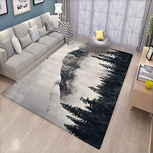 Room Floor mat,National Parks Home Decor Canadian Smokey Mountain Cliff Outdoor Idyllic Photo Art,Super Soft Indoor Modern Floor mat 170x200cm