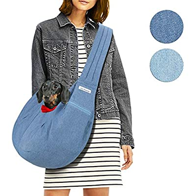 LincaPenneton Stylish Denim Pet Sling Dog Carrier Shoulder Bag Breathable Fabric Adjustable Padded Strap Small Cat Dog Puppy Travel Hands Free up to 11 lbs Blue