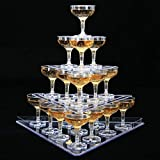3 Tier Champagne Tower Display, Triangle Tower Stand, Clear Acrylic Goblet Wine Tower, Creative Layout for Wedding Ceremony Party Birthday (Contains 22 Cups)