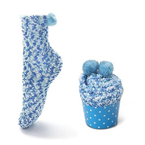 Leapop 1 oder 3 Paare Damen Mädchen Socken Cupcakes Design Flauschig Gemütliche Weiche Dicke Warme Weihnachtssocken mit Geschenkbox (Blau (1 Paar))