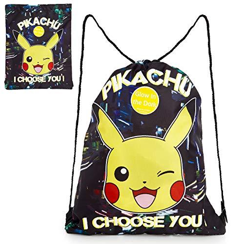 Pokemon Mochila de Cuerdas Niño  Bolsa de Tela Estampado Pikachu  Que Brilla en la Oscuridad