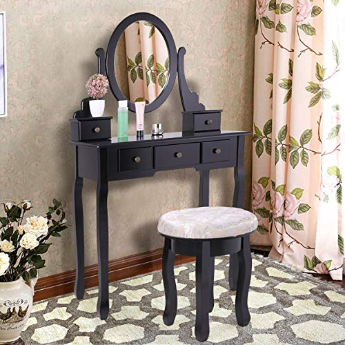 JAXSUNNY Makeup Dressing Vanity Set with Oval Mirror, 5 Drawers and Cushioned -