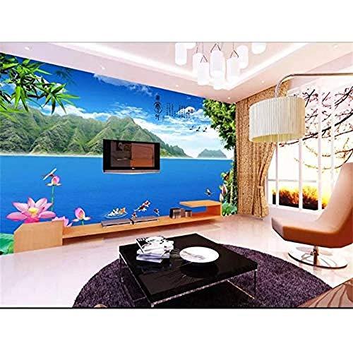 XHXI Papel tapiz fotográfico 3D personalizado, Mural de sala de estar, paisaje de lago Lotus, foto 3D, imagen Pared Pintado Papel tapiz Decoración dormitorio Fotomural sala sofá mural-300cm×210cm