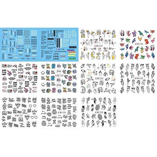 Yinxinhui 11pcs / Set Lettre Lignes abstraites Designs Nail Sticker Transfert d'eau Décalcomanies Ensembles Nail Art Décor Beauté Conseils 2020Newst (Couleur : 11pcs)