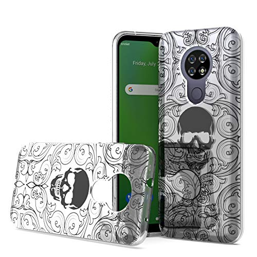 Fcclss Case for Cricket Ovation/AT&T Radiant Max (U705AA/U705AC), Cricket Ovation Case Slim Fit Soft TPU Crystal Clear Case Cover Cool Skull, Shockproof Protective for Men Women