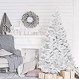 WEIZI Árbol de Navidad de Pino Douglas con bisagras Premium con Soporte de Metal Fácil Montaje para decoración de Vacaciones en Interiores Árbol de Navidad Artificial Blanco sin iluminación-Blanco