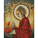 La pintura por números Estatua de buda flor de loto rojo Lienzo Pintura al óleo Pintura al óleo de DIY por Números kit Decoración de la pared del hogar 40X50 cm(Sin marco)