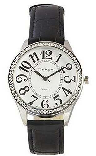 Urban Damen Armbanduhr Silber Diamante Große Zahlen und Zifferblatt Analoges Japanisches Quarzwerk mit schwarzem PU-Lederband UBN-L
