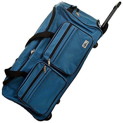DEUBA Reisetasche | mit Trolleyfunktion | Rollen mit Kugellager | Teleskopgriff | abschließbar -【Farb-und Größenauswahl】 Sporttasche Reisetrolley Gepäcktasche, Blau, 85L = 70 x 36 x 34 cm (LxBxH)