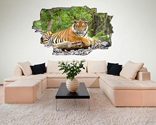 Tiger Dschungel Look Wandtattoo 70 x 115 cm Wanddurchbruch Wandbild Sticker Aufkleber DesFoli  C096
