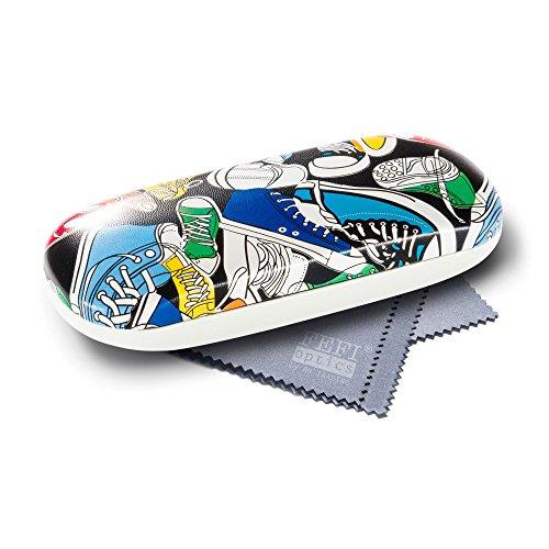 FEFI FEFI PopArt Brillenetui im Comic-Style - Hardcase mit Schnappverschluß - inklusive hochwertigem Brillenputztuch/Microfasertuch (Bunt)
