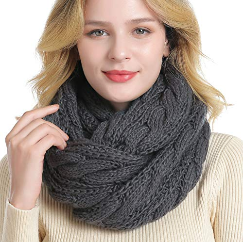 QUEENFUR Winter Women Thick Cable Knit Ribbed Infinity Circle Loop Scarf Matches with Beanies (Dark Grey)