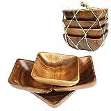 Acacia Handmade Wood Carved Plates - Set of 4 Calabash Bowls Size 4' (Square)