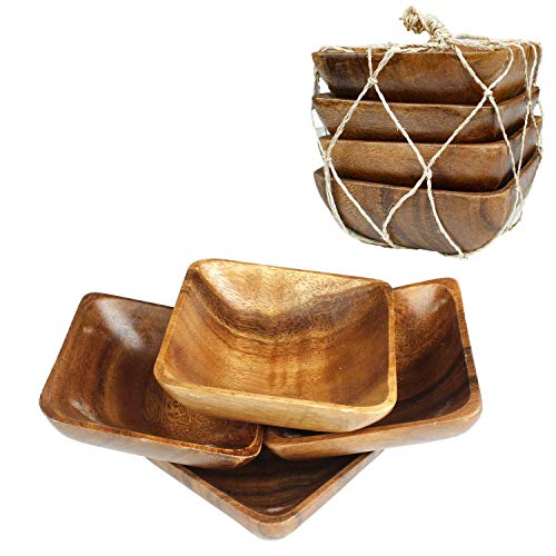 Acacia Handmade Wood Carved Plates - Set of 4 Calabash Bowls Size 4' (Square)