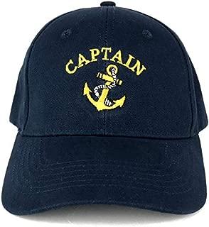 Captain Anchor Embroidered Deluxe 100% Cotton Cap - Navy