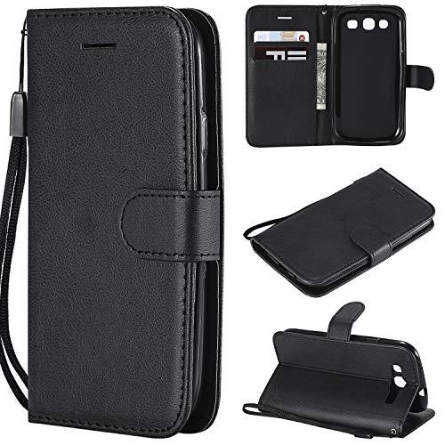 YYhin Case per Cover Samsung Galaxy S3/i9300(4.8') - Chiusura Magnetica Card Slots,Custodia in Pelle Morbida Premium PU per Portafoglio Case(CS03-Nero)