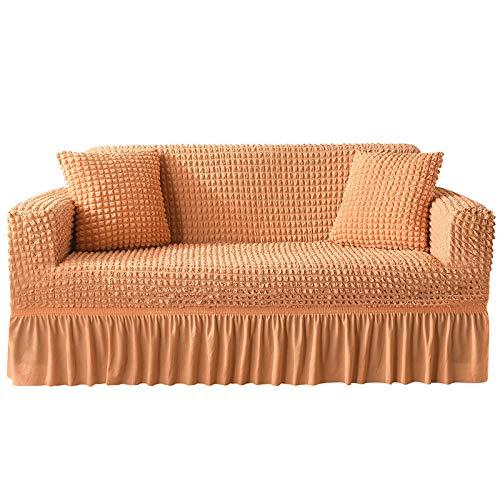 NOBCE Funda de sofá elástica geométrica para Sala de Estar Sofá de Esquina seccional Moderno Funda de sofá Funda de sofá Protector de Silla 1/2/3/4 plazas Naranja 235-300CM