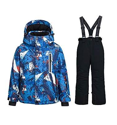 WOWULOVELY Boy's Ski Jacket Pants Windproof Snow Suit Waterproof 2-Piece Snowsuit Girls Unisex (8, 55Blue+Black)