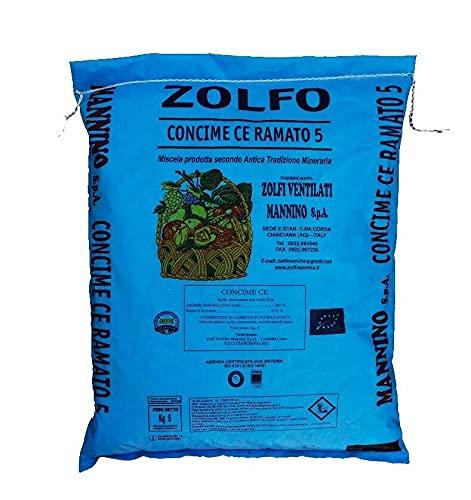 Mannino Zolfo Ramato 5% Concime per Agricoltura Biologica per Orto e Giardino, uso professionale, formato da 10 kg