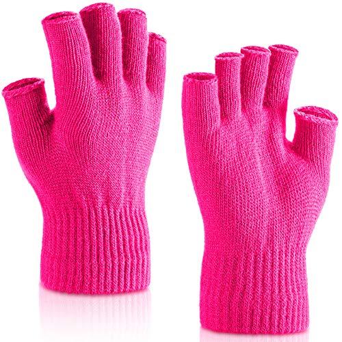 SATINIOR 2 Paar Handgelenk Fingerlose Handschuhe Halbe Handschuhe Fingerlose Handschuhe für Erwachsene und Kinder (Rosenrot)