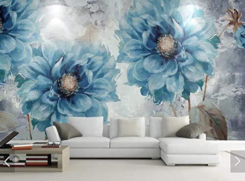 3D vliesbehang fotobehang abstract Nordic vintage schilderij blauwe bloemen behang fotobehang woonkamer wanddecoratie behang 350*245 350 x 245 cm.