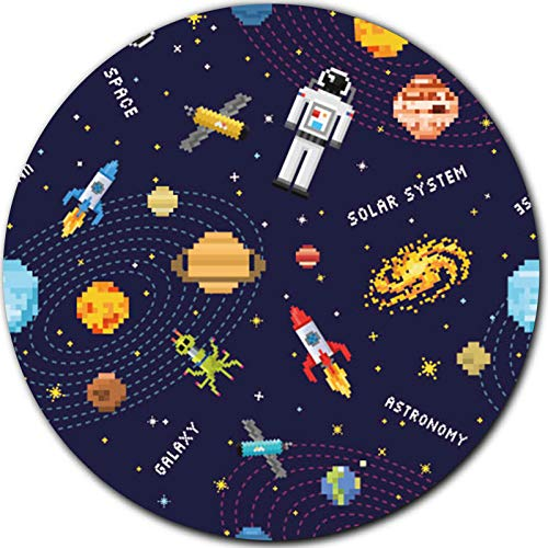 Pixel Space Rocket Nebula Mouse Pad Round Circular Circle Mini, Astronomy Sloar System Mousepad for Kids Boys Girls Men, for Desk Laptop Computer Gaming Home Office Working