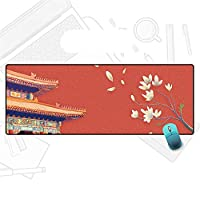 マウスパッド 中国風のロータスマウスパッド11.81X31.49X0.78インチ 滑らかな生地の表面、厚いノンスリップの天然ゴムベースデスクカバープロテクター、ゲーマー、オフィス、ホーム用のマウスマット A3