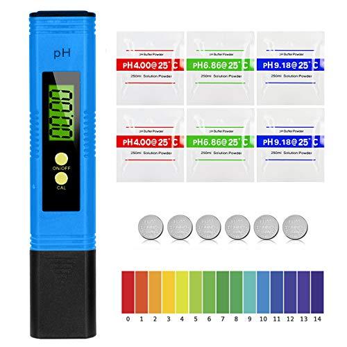 Mture PH Mètre Numérique, Testeur de qualité de l'eau Digital LCD, Plage de Mesure pour 0-14 Ph, 0,01 Ph Précision, pour l'eau Potable, Aquariums, hydroponie, piscines, Bleu