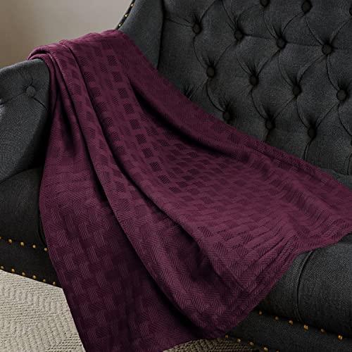 SUPERIOR Twin/Twin XL Decke aus 100prozent Baumwolle, für alle Jahreszeiten, Korbgeflecht, Pflaume