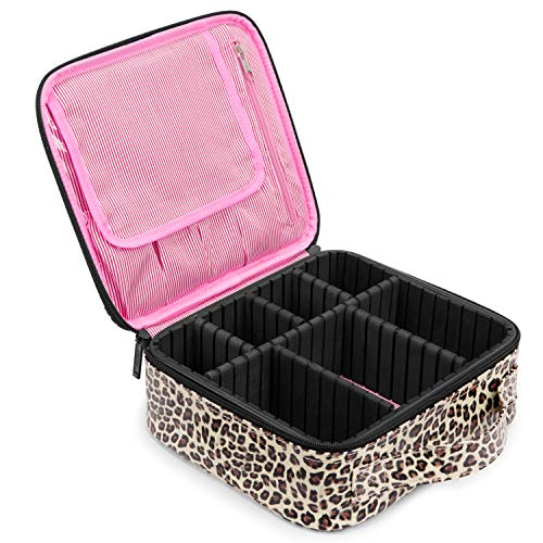 NiceEbag Makeup Bag for Women Large Cosmetic Bag Leather Train Case Professional Makeup Case Cute Travel Makeup Organizer with Brush Section & Removable Dividers for Cosmetics Make Up Tools, Leopard
