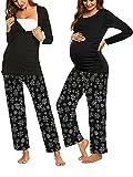 SUNNYME Conjunto de pijama de maternidad para mujer de manga larga para lactancia materna, conjuntos de ropa de dormir para el hospital de 2 piezas de pregrancia ropa de dormir para el salón negro S