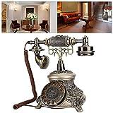Teléfono con esfera giratoria, teléfono con esfera de cobre de imitación de resina vintage antiguo, teléfono con cable No se requiere alimentación externa para la decoración de la oficina del hotel