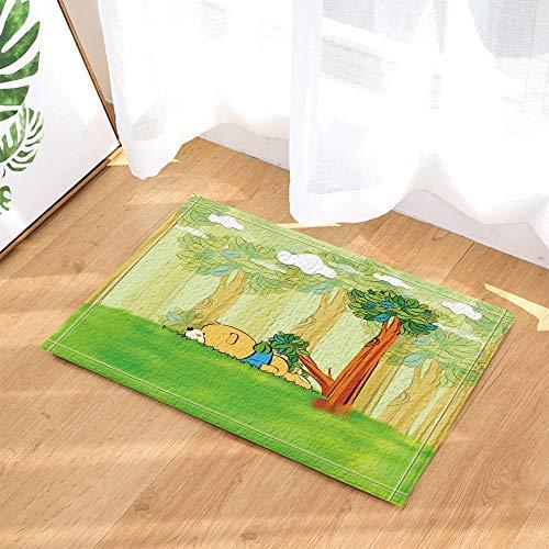 gohebe für Kinder mit Cartoon-Bär im Wald Grün Gras-Bad-Teppich Rutschfest Fußabtreter mit Entryways Innen-Tür-Matte für Kinder Matte mit X-23.6in Badezimmer Zubehör