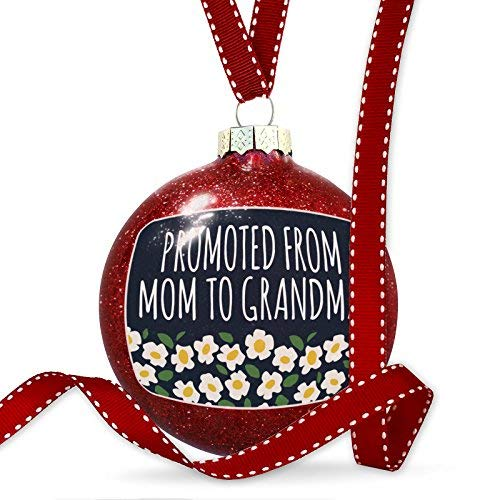 WSMBDXHJ Christmas Decorations Baubles Promoted from Mom to Grandma Mother's Day White Flowers Ornament Glass Christmas Ornaments 2018 for Tree for the Home Novelty