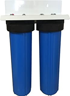 AFWFilters CF2-4520-BCBC-PENTEK 20-inch 2 Stage Upgraded PENTEK Big Blue Whole House Filter with DUAL Bone Char Carbon-Ultimate Fluoride Removal System
