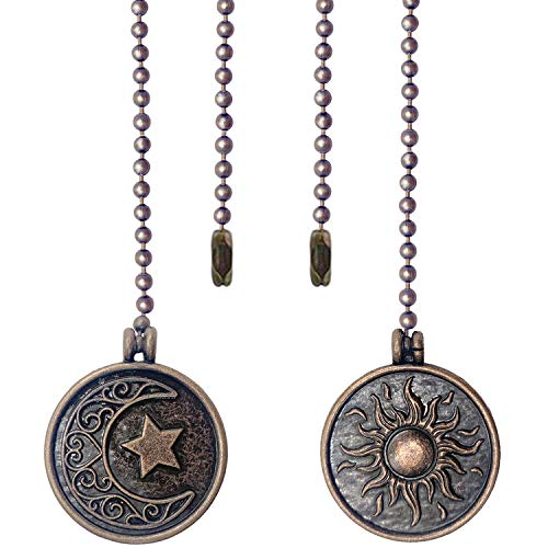 Iceyyyy Newst Style Ceiling Fan Pull Chain Set - 2pcs 13.4 inches Sun & Moon Pattern Pull Chains Extension Copper Beaded Ball Fan Pull Chain with Ornaments for Ceiling Light Lamp Fan