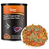 hygger Fish Food Flakes,7.05oz Tropical Color Flakes Health Brightening for Most Fish eg Betta, Angelfish, Guppy etc